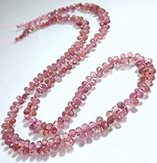 """Jewel Beads Natural Beautiful jewellery Pink Tourmaline Gorgeous Clean Faceted Teardrop Beads Drop Shape 6x3 To 4.5x3.mm 9.5"""" InchesCode:- JBB-46922"""