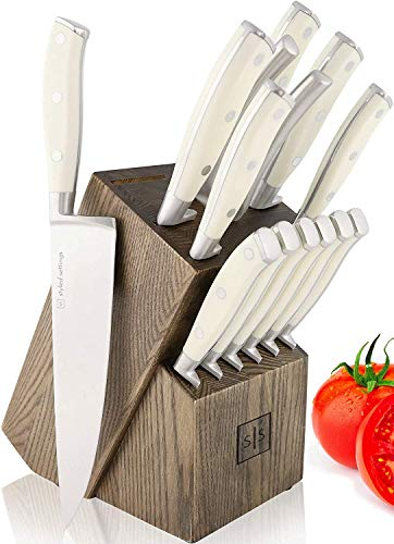 White Knife Set with Block, 15 Piece White Knife Block Set with Knives, Stainless Steel Knife Set with Sharpener Tool and Heavy Duty Cooking Shears - White Knives Set for Kitchen, Butcher Knife Set