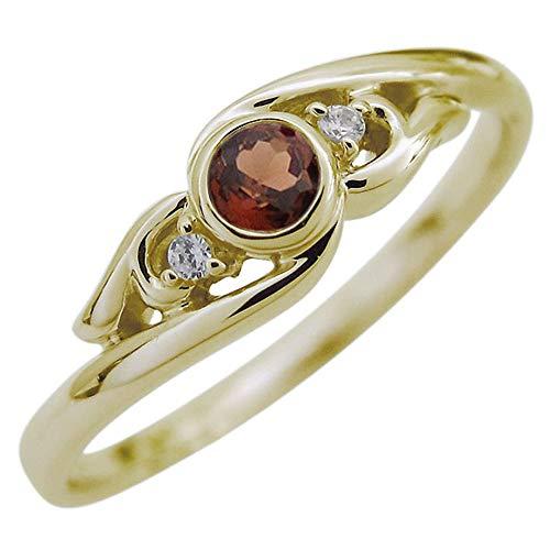 [プレジュール]ガーネット 指輪 イエローゴールド 18K リング レディース アラベスクリングサイズ7号