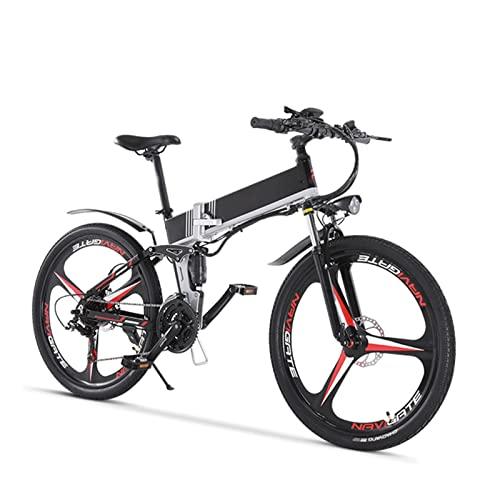 Liu Yu·casa creativa Bicicleta eléctrica para Adultos Bicicleta de 500W Bicicleta eléctrica Plegable con neumático de 26 ' 48V 12. 8Ah Batería extraíble 7 velocidades hasta 24Mph (Color : Black Red)