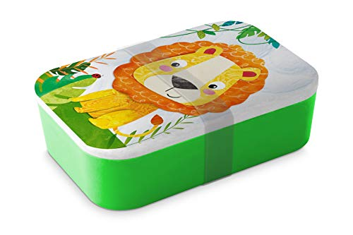 Home Collection Bambus Brotdose Lunchbox Butterbrotdose Happy Lion Löwe 19,8 x 12,8cm H6,5cm 900ml