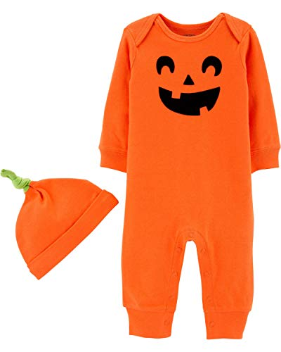 Carter's 2-Piece Halloween Jumpsuit and Cap Set (Newborn, Orange/Jack-O-Lantern)