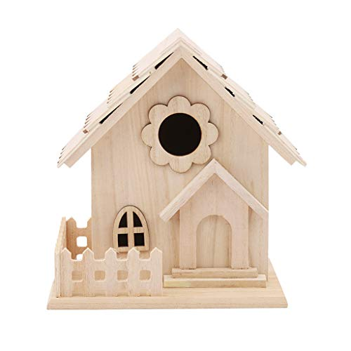 Wooden Bird Houses Mini Tall Birdhouse Unfinished Wood DIY Birdhouse Ready to Paint Hanging Bird Nest for Outside Garden Patio Decorative for Wren Swallow Sparrow Hummingbird Finch Throstle (Brown2)