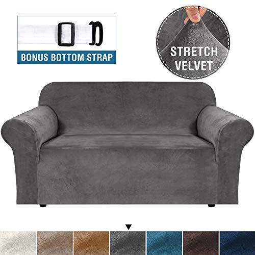 BellaHills Echte Samt Couchbezug für Sofa Schonbezüge Samt Plüsch Möbelbezug Ultra Stretch Sofabezüge Möbelschutz mit elastischem Boden (2-Sitzer, Grau)