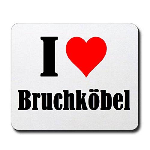 Gaming Mauspad I Love Bruchköbel in Weiss, eine tolle Geschenkidee die von Herzen kommt| Rutschfestes Mousepad | Geschenktipp: Weihnachten Jahrestag Geburtstag Lieblingsmensch