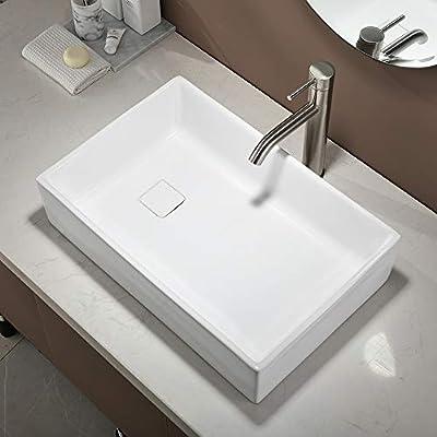 Hotis White Square Rectangular Above Counter Porcelain Ceramic Bathroom Countertop Bowl Lavatory Vanity Vessel Sink, with Pop Up Drain