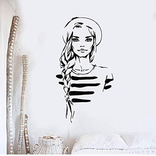Etiqueta De La Pared Moda Belleza Chica Salón De Maquillaje Estilo Marino Vinilo Etiqueta De La Pared Calcomanía Decoración Del Hogar Sala De Estar Arte Mural Regalo 43X79 Cm