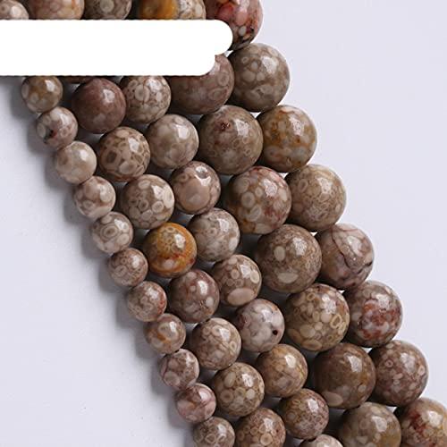 Cuentas de fósiles de coral gris natural Cuentas redondas de piedra de crisantemo para hacer joyas Dijes de bricolaje Collares 15 'Hebra 6 8 10 12 mm-8 mm 46 a 48 piezas