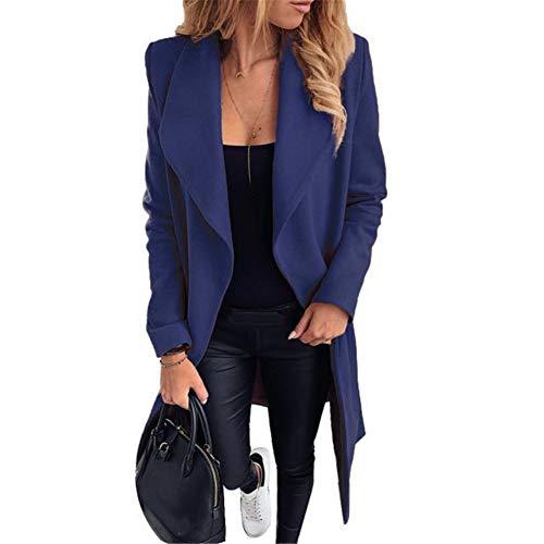 ZFQQ Abrigo de Lana de Solapa de Encaje de Moda para Mujer de otoño e Invierno