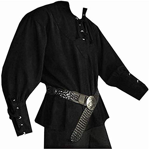 Karlywindow Men's Medieval Lace Up Pirate Mercenary Scottish Wide Cuff Shirt Costume Black