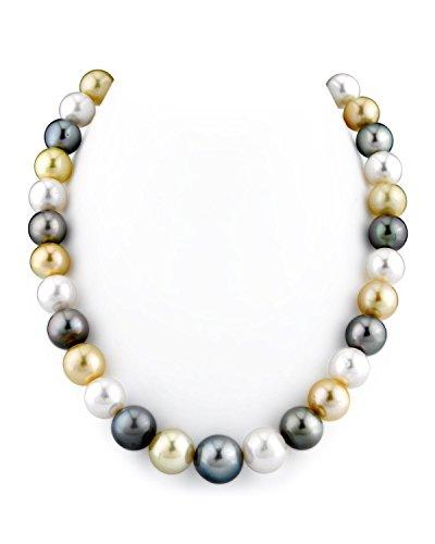 12-14mm Mare del Sud & Colture Collana di Perle Multicolore