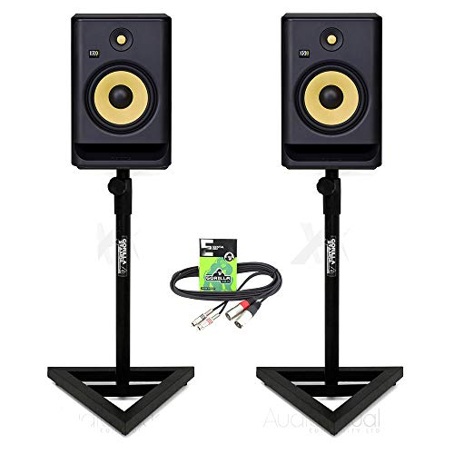 "Price comparison product image KRK Rokit RP8 G4 Active 8"" DJ Studio Monitor Speakers inc Gorilla Stands & Cable"