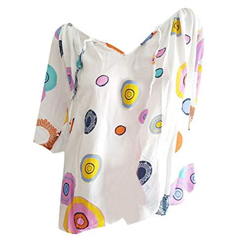 Shinehua Elegante blouses met V-hals voor dames, oversized T-shirt, lange mouwen, grote maten, tuniek-shirts, tops, bandage, kant, top, feestelijk blousenshirt, bikinitop 5XL wit