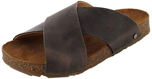 HAFLINGER Bio Mio 819412-0 Herren Damen Clogs Leder Pantoletten, Größe:47 EU, Farbe:Braun