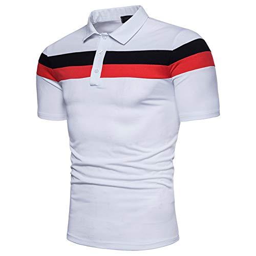 XJWDTX Chemise À Manches Courtes pour Hommes D'Été, À Rayures Horizontales Bicolores, Couture À La Mode avec Un Polo pour Homme