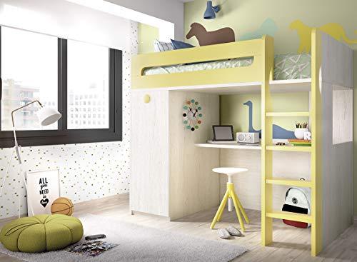 ambiato Jump 306 hoogslaper voor de kinderkamer, met houten ladder en geïntegreerd bureau en kledingkast