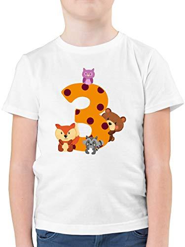 Geburtstag Kind - 3. Geburtstag Waldtiere - 140 (9/11 Jahre) - Weiß - Waldtiere 3 Geburtstag Shirt - F130K - Kinder Tshirts und T-Shirt für Jungen