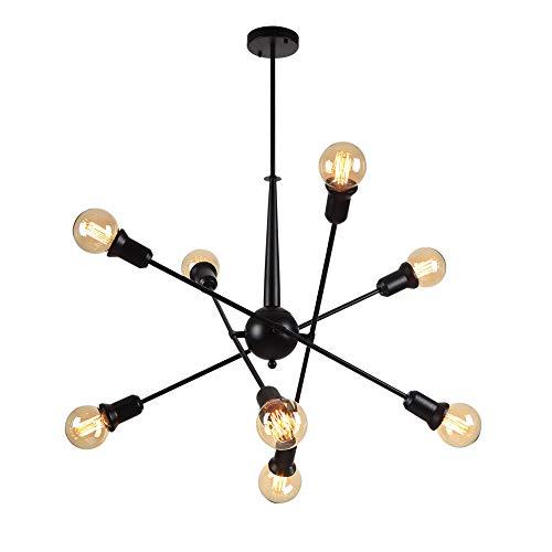 WFZRXFC Lámpara de techo semi empotrada rústica negra retro americana 8 E27 Candelabro Sputnik largo Lámpara de techo Magic Bean Molecular Shape Ideas Accesorio de iluminación de poste de luz ajustabl