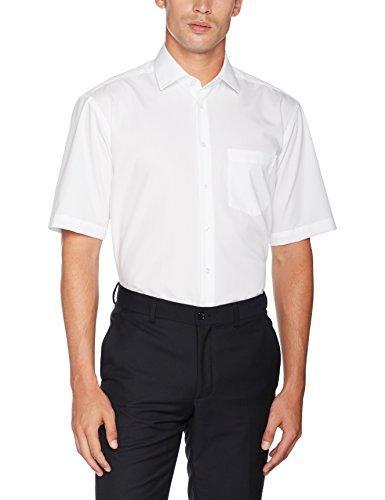 Seidensticker Herren Business Hemd Comfort Fit – Bügelfreies, legeres Hemd mit Kent-Kragen & Brusttasche – Kurzarm –100% Baumwolle ,Weiß (Weiß 01) ,41