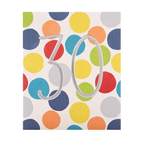 Tarjeta de felicitación de 30 cumpleaños de The Hallmark Studio, diseño de número de papel plateado en relieve