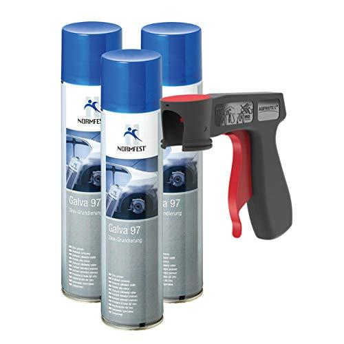 AUPROTEC Zink Grundierung Galva 97 Ultra hitzefest 490°C schweißbar Zinkspray Farbe 3X 400ml + 1x Original Pistolengriff