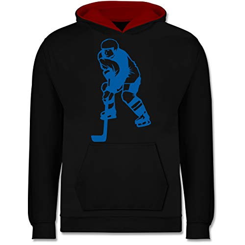 Sport Kind - Eishockeyspieler blau - 152 (12/13 Jahre) - Schwarz/Rot - Hockey Pulli - JH003K - Kinder Kontrast Hoodie