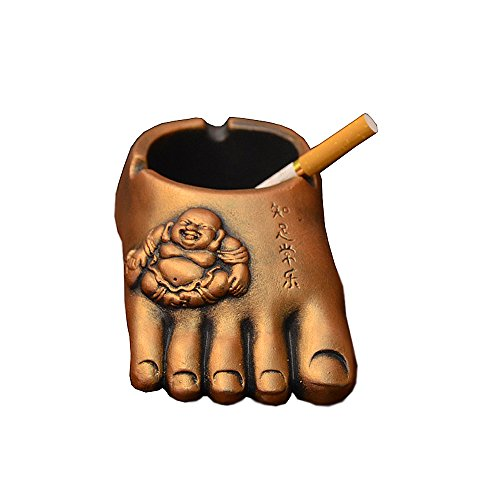 YSMYWM Creative Retro Buddha feet Metal Craft Ashtray Cigarette Ashtray Holder for Home Car (Gold)