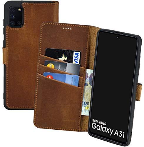 Suncase Book-Style Hülle kompatibel mit Samsung Galaxy A31 Leder Tasche (Slim-Fit) Lederhülle Handytasche Schutzhülle Hülle mit 3 Kartenfächer in antik-Coffee