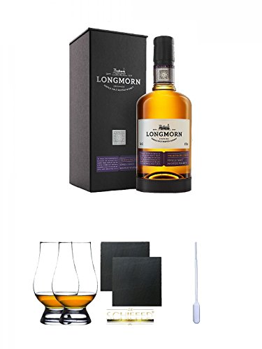 Longmorn The Distillers Choice Single Malt Scotch Whisky 0,7 Liter + The Glencairn Glass Whisky Glas Stölzle 2 Stück + Schiefer Glasuntersetzer eckig ca. 9,5 cm Ø 2 Stück + Einweg-Pipette 1 Stück