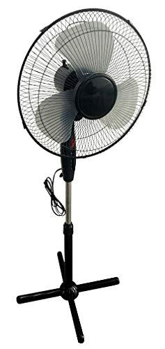 Metall Standventilator 40 W in schwarz - höhenverstellbar auf bis zu 130 cm - 3 Stufen - Ventilator mit Sicherheits Nachtlicht