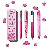 BIC 978219 Summer Pink Box: Boli de Gel de Punta Media (0,7.mm), Portaminas, BIC 4.Colores (1,00.mm), marcador - Rosa, Caja de.4