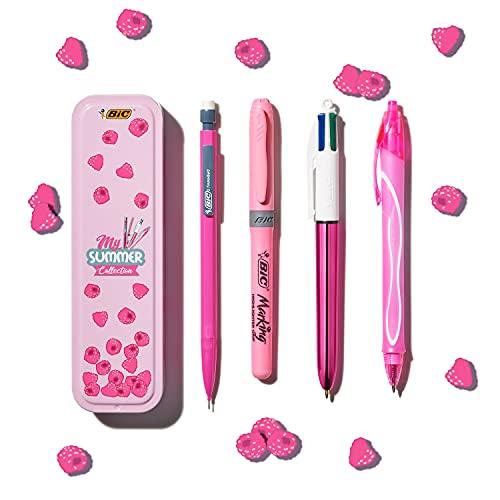 BIC Summer Pink Box: penna gel (0,7 mm), portamine, penna a sfera in 4 colori (1,00 mm), evidenziatore – rosa, confezione da 4