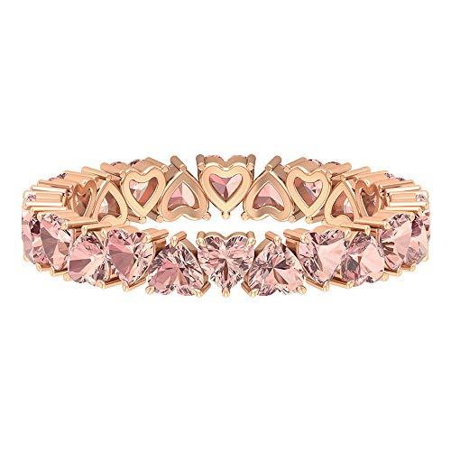 Full Eternity Band, Heart Shape Ring, 9.6 CT 3 MM Lab Created Morganite Ring, Pink Gemstone Ring, Anniversary Ring, Bridesmaid Ring, Rings for Girls, 18K Rose Gold, Size:UK Z+2