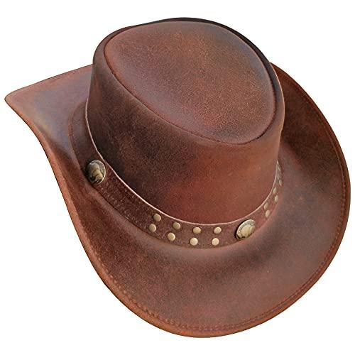 Brandslock BRANDSLOCK Australischer Lederhut mit geflochtenem Band Original Cowboy Australischer Buschhut (M, Kamel)