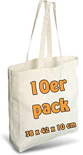Cottonbagjoe Einkaufstasche | unbedruckt | Seiten-&Bodenfalte | Langen Henkeln | Jutebeutel (Natur, 10 Stück)