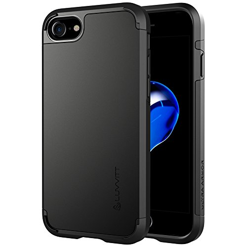 iPhone 8 Case, LUVVITT [Ultra Armor] Shock Absorbing Case Best Heavy Duty Dual Layer Tough Cover for Apple iPhone 8 (2017) - Black