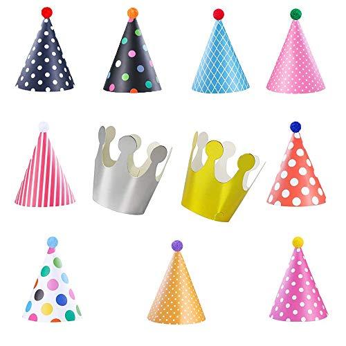 Dream HorseX Geburtstag Hüte Kronen Set Partyhüte Party Kegel Hüte, Party Kegel Hüte mit Pom Poms, schöne Krone, für Kinder und Erwachsene, Spaß Geburtstag Party Hüte, 11 Stücke