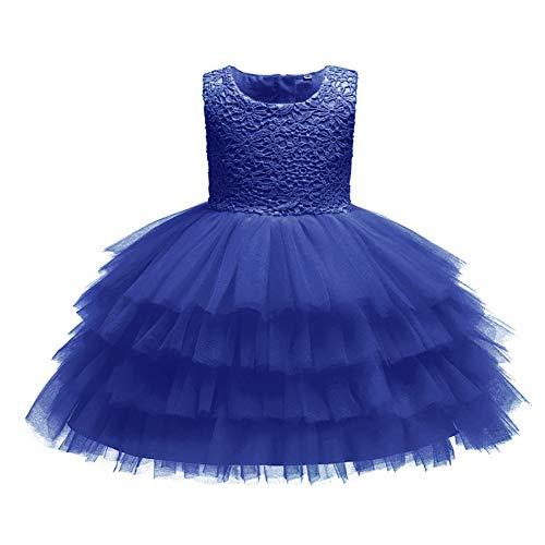 Kumkey Bebes Cordón Vestidos Bowknot Niña De Las Flores Princesa Partido Dama De Honor De La Boda Vestido Niños Cumpleaños Banquete Bautizo Ceremonia Verano Ropa (Azul Marino,18M)