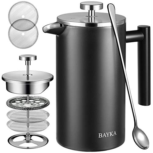 BAYKA 34 Oz French Press Coffee Maker, 304 Grade Stainless Steel, Double Wall Insulated Coffee Press for Home Office, 4-Level Filtration Systems, 2 Extra Mesh Filters Included, Dishwasher Saf, Black