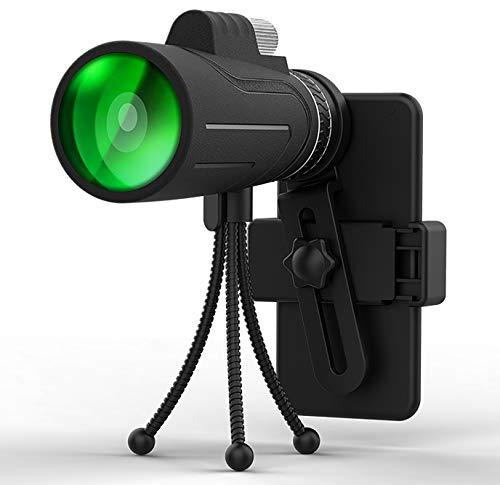 Telescopio monocular 12X50 Monocular Impermeable HD BAK4 Prisma para Tiro al Blanco Caza Observación de Aves Camping al Aire Libre con Soporte para teléfono Inteligente