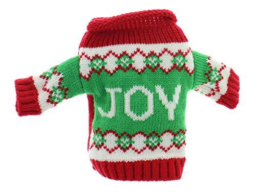 MIK Funshopping Geschenkverpackung für Weinflaschen, Weingeschenk, Flaschen-Deko Set, Flaschenkleidung, Weihnachts-Geschenk (Pullover Joy)