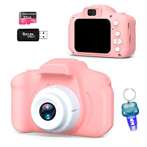 QOGELY Digital Camera for Kids Girls Boys Toddlers Children,Rechargeable Video Child Camcorder Recorder Best Birthday Gifts for 3 4 5 6 7 8 9 Year Old (Pink)