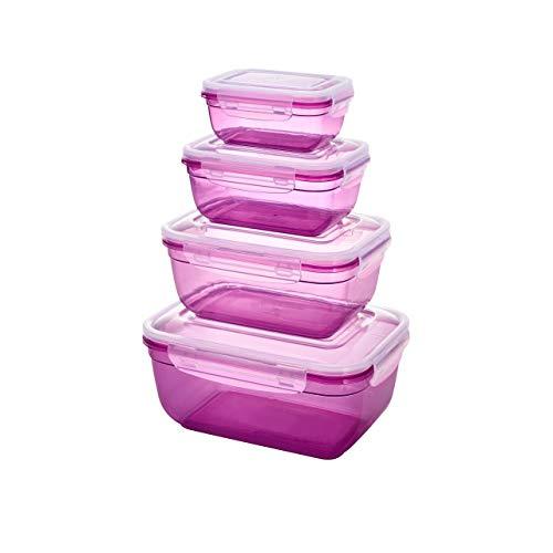 Grizzly Frischhaltedosen Set - Vorratsdosen mit Deckel 100% Luft-und Wasserdicht Rechteckig Berry