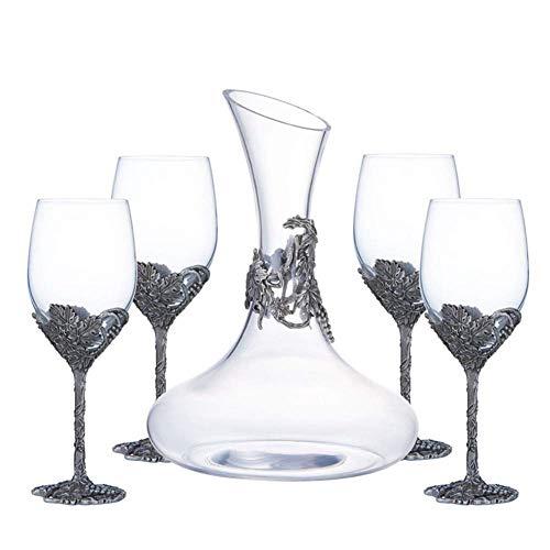 WZHREDWINE Classic Wijn 1 Decanter 4 Wijnglazen Set Kristal Glas Wijn Aerobic Apparaat Gieten Wijn Kenner Favoriete Familie Verzamelen