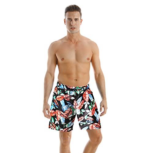 Conjunto de trajes de baño familiares a juego padre e hijo floral lunares traje de baño traje de baño pantalones cortos, Hombres Naranja, L