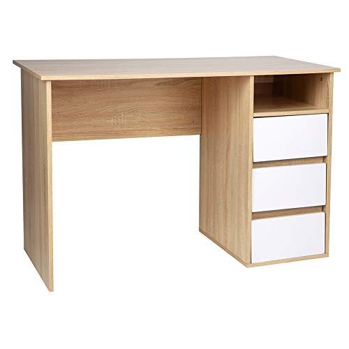 Computertisch mit 3 Schubladen für Laptop, Arbeitsstation, aus robuster Spanplatte, Arbeitstisch, Arbeitstisch, Arbeitstisch, Arbeitstisch, für Zuhause, 110 x 55 x 73,5 cm