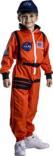 Dress Up America Astronaut Costume for Kids – NASA Orange Spacesuit for Boys & Girls (Medium)