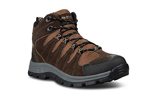 Donner Mountain Rocky Mens Hiking Boots, Insulated Traction Mid-Ankle Waterproof Boots for Men, Dark Brown/Olive, 11 M US