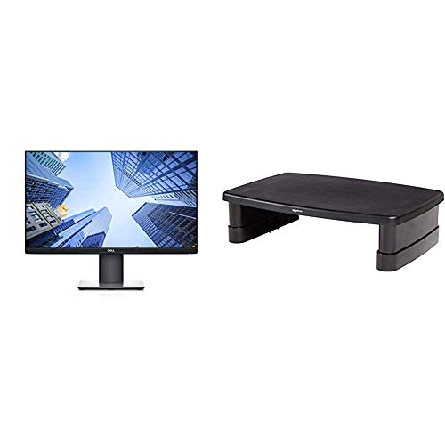 Dell P2419H 24 Inch LED-backlit, Anti-Glare, 3H Hard Coating IPS Monitor - (8 ms Response, FHD 1920 x 1080 at 60Hz, 1000:1 Contrast) & Amazon Basics Adjustable Monitor Stand