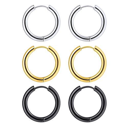 U7 Ohrringe Set 3er Creolen Ohrringe 16mm Edelstahl Huggie Kreolen Hoop Klappcreolen Ohrschmuck Silber Gold Schwarz